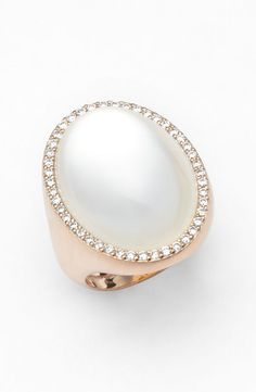 Roberto Coin Diamond & Mother of Pearl Doublet Ring. Available at Johnson's Jewelers Olde Raleigh! Coin Jewelry, I Love Jewelry, Pearl Jewelry, High Jewelry, Jewelry Accessories, Jewelry Design, Jewlery, Bling Bling, Gold Coin Ring