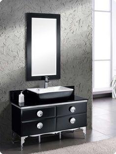 Fresca Moselle 47 Modern Glass Bathroom Vanity with Mirror Black Vanity Bathroom, Vanity Set With Mirror, Wall Mounted Vanity, Glass Bathroom, Bathroom Cabinets, Modern Bathroom, Bathroom Vanities, Bathroom Ideas, Narrow Bathroom