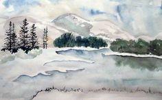 simple winter scene ~ watercolor