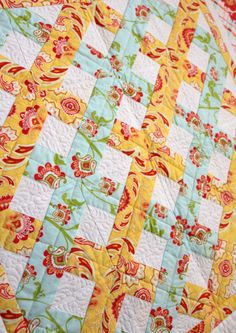Lattice Quilt - love that its only two fabric choices with the white!