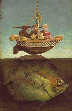 James C. Brendan The Navigator - LIMITED EDITION CANVAS from the Greenwich Workshop Fine Art Gallery featuring fine art prints, canvases, books, porcelains and gift ideas. Fantasy Kunst, Fantasy Art, St Brendan, Blue Boat, Art Textile, Art Et Illustration, Fish Art, Surreal Art, Religious Art