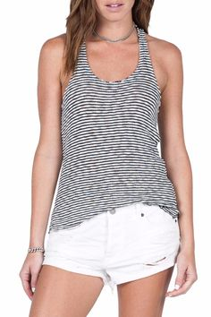 "A perfect racerback fit, the Lost Together Tank features a flattering scoop neckline and a figure hugging fit. This cute striped tank is perfect for pairing with your favorite cut offs or a long maxi skirt.    Measures: 23"" shoulder to hem    Lost Together Tank by Volcom. Clothing - Tops - Sleeveless Clothing - Tops - Tees & Tanks Providence, Rhode Island"