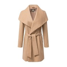 Light Tan Lapel Long Sleeves Long Wool Outerwear With Belt (€52) ❤ liked on Polyvore featuring outerwear, coats, jackets, long beige coat, woolen coat, long wool coat, long sleeve coat and long lapel coat