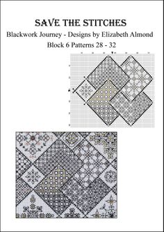 'Save the Stitches' Block 6 - free PDF download available from www.blackworkjourney.co.uk