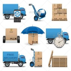 Vector Delivery Icons Set 4 by dashadima Folder include EPS10, Ai and JPG files. EPS10, Ai files can edit in Adobe Illustrator CS5, CS5.5, CS6 and CS. 100 Vector. Vector