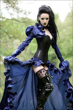 Goth Steampunk Villainess - blue silk dress, leather thigh high boots, lace stockings, corset/bodice