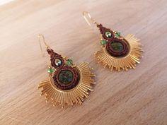 Gold Sun Earrings Unakite Macrame Earrings Hippie | Etsy Unique Earrings, Earrings Handmade, Macrame Earrings, Turquoise Cuff, Butterfly Necklace, Bohemian Jewelry, Round Beads, Wax, Pendant