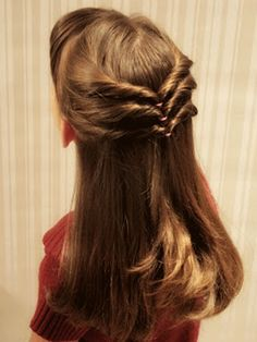 """This """"Triple Chevron Style"""" is an easy and super cute style for girls with long hair! http://www.ivillage.com/hairstyles-girls-long-hair/6-b-385133#385776"""