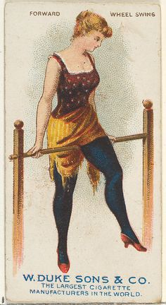"Forward Wheel Swing, from the ""Gymnastic Exercises"" series (N77) for Duke brand cigarettes Issued by W. Duke, Sons & Co., 1887, Commercial color lithograph, 2 3/4 x 1 1/2 in.  (Collection of Jefferson R. Burdick)"