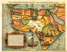 Woodcut map of Africa by Sebastian Münster (1489-1552). This is the earliest obtainable map of the entire continent!