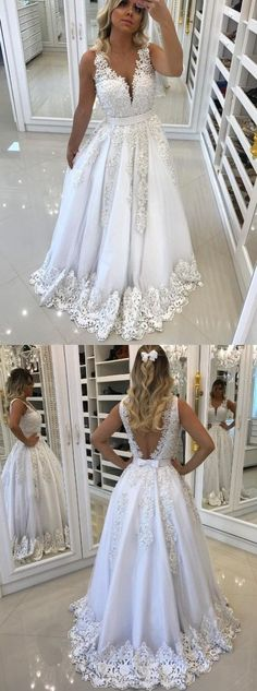 Gorgeous formal prom party dresses with train backless, fashion v-neck evening gowns with pearls. #longpromdresses