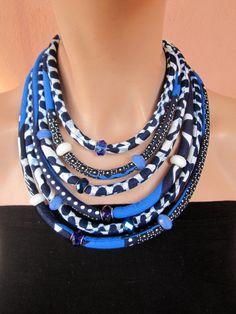 Royal Blue Necklace - Ankara Statement Jewelry  Bib necklace  African  jewelrySet d8a2bdb7a82