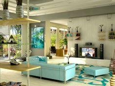 Farbideen Wohnzimmer Einrichtungsideen Türkise Farbe Wandfarbe Türkis