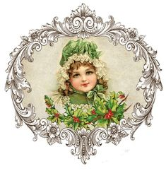 Vintage image of a little girl in emerald green winter dress and bonnet, holding a holly branch. Vintage Christmas Images, Victorian Christmas, Christmas Pictures, Vintage Images, Vintage Pictures, Vintage Cards, Vintage Postcards, Christmas Paper, Christmas Crafts