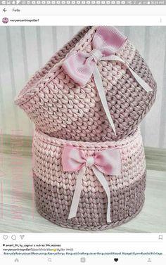 The most beautiful Crochet basket and straw models Crochet Home, Knit Or Crochet, Crochet Gifts, Easy Crochet, Crochet Baby, Tutorial Crochet, Crochet Basket Pattern, Crochet Patterns, Crochet Baskets