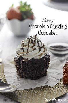 Skinny Chocolate Pudding Cupcakes (Poke Cake) topped with Fat Free Whipped Cream.
