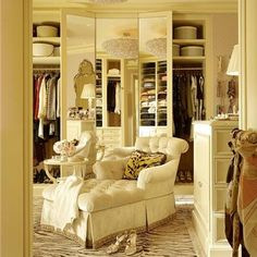 To Have-Such a lovely space in which to ready oneself. The elegant, overstuffed chaise lounge is ideal for relaxing while contemplating the day's wardrobe selection. The mirrored closet doors enhance the sense of space, and the dresser adds a homey touch