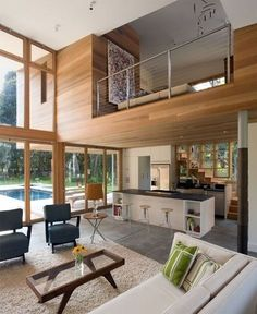 Really like this open concept. Sweet modern house living room stairs windows