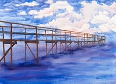 """Sometimes the Lake talks in purples. """"Pier Pleasure"""" my watercolour is an attempt to capture those moments. gaylehalliwell.com Wave Studio, Lake Winnipeg, My Works, Waves, Tours, Sky, In This Moment, Watercolour, Artist"""