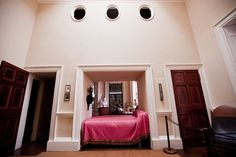 This is were Thomas Jefferson slept with a study on one side and a big secret closet above he spent a lot of time in his study because he loved to discover new things.
