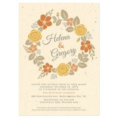 A beautiful Floral Wreath Wedding Invitation. With four great color palettes to choose from - one for each season. Also the paper is embedded with seed paper, the lucky recipient can plant the paper to grow wildflowers and leave no waste!