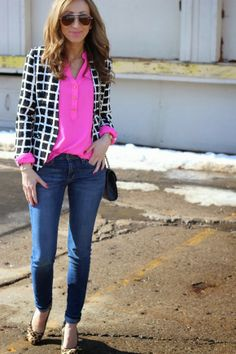Blazer: Love Culture (in love with this one) Blouse: -old (similar here, here, here) Jeans: Joe's Jeans – size up (fab option for less) Shoes: old (similar here, here, here) Bag: Rebecca Minkoff (cute option for… Cute Blazer Outfits, Leopard Outfits, Cool Outfits, Casual Outfits, Hot Pink Blouses, Hot Pink Tops, Workwear Fashion, Blazer Fashion, Valentines Outfits