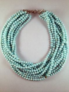 Style N00014 $350 Peruvian opal multi-strand on sterling silver clasp. $350