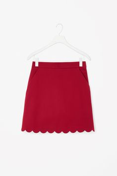 COS image 4 of Skirt with scalloped hem in Red