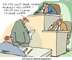 Defending plagiarism in court - cartoon