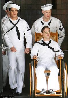 Glee actors suit up in old school sailor costumes to film 1940s-inspired scene. #DailyMail  http://dailym.ai/Odl3Nl