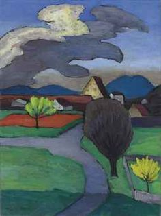 """"""" Three shaped cloud over the village, Murnau """", 1939 painting by Gabriele Munter (German expressionist artist , Franz Marc, Wassily Kandinsky, Abstract Landscape, Landscape Paintings, Cavalier Bleu, Illustration Art, Illustrations, Art Graphique, Land Scape"""