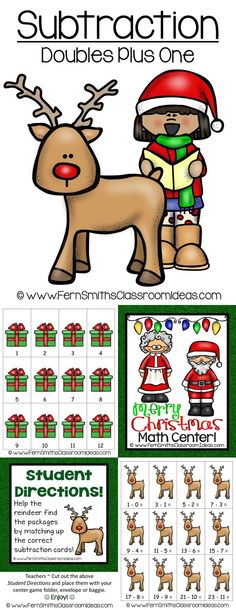 Quick and Easy to Prep Subtraction Center Game - Doubles Plus One for Christmas #TPT #Christmas $Paid