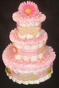 Diaper Cake for Girls ITS A GIRL Diaper Cake Baby por BabyCakesMN
