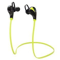 Bluetooth Headphones Anear Stereo Wireless Bluetooth Earbuds for Sport Running Gym Exercise Sweatproof CVC 6.0 Noise-Cancelling Wireless Bluetooth Earphones W/Microphone Compatible with iPhone 6, 6 Plus, 5 5c 5s 4 and Android--Black & Green