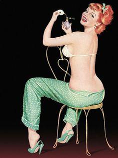 Pinup Poster Redhead With Polka Dot Pajamas