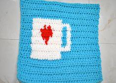 The Ko-fi Button Crochet Patch Free Pattern