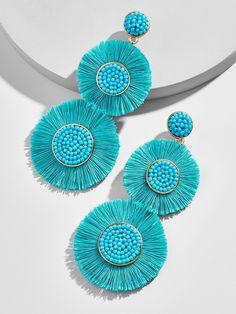 Colorful Yellow & Green Statement Earrings- dangle earrings/ chandelier earrings/ fan earrings/ gift for her/ birthday gift/ formal occasion - Fine Jewelry Ideas Diy Tassel Earrings, Tassel Jewelry, Fabric Jewelry, Chandelier Earrings, Beaded Earrings, Statement Earrings, Crochet Earrings, Jewellery, Handmade Beaded Jewelry