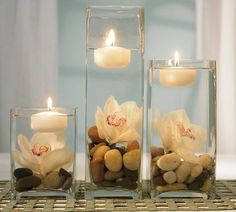 Rocks and stones are one of the cheapest options for wedding centerpieces; moreover they are modern and different. Combined with candles, they really can bring the nature at your table. Go for white rocks and stones, for they are a symbol of a strength love and marriage.