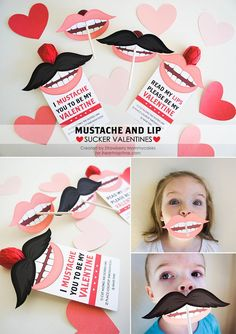 How cute are these mustache and lip sucker Valentine's? They even come with a free printable.