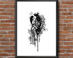 """Couple Can be Personalised with Name Initial Wall Art Print Digital Download. Wall Art Printable. Ink. 24""""36"""" Grey Poster Black and White Initial Wall Art, Printable Wall Art, Etsy Store, Wall Art Prints, Couple, Ink, Canning, Black And White, Digital"""