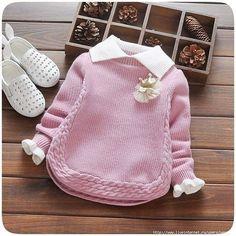 Baby Mädchen Winter Pullover Kragen Kinder Kleidung Baby … - Knitting For Kids Baby Knitting Patterns, Knitting For Kids, Knitting Designs, Crochet Patterns, Crochet Ideas, Baby Sweaters, Girls Sweaters, Winter Sweaters, Knitting Sweaters