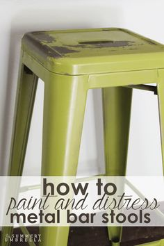 How to Paint and Distress Metal Bar Stools Like a Pro is part of Metal stools diy - Not a fan of the color of your metal stools Don't worry! Learn how to paint and distress metal with this quick and easy tutorial Painted Metal Chairs, Metal Stool, Metal Bar Stools, Diy Design, Meme Design, Stool Makeover, Furniture Makeover, Metal Furniture, Diy Furniture
