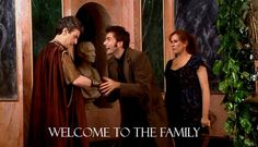 """Peter Capaldi, as Lucius Caecilius, meets The Tenth Doctor (David Tennant) and Donna Noble (Catherine Taye) in the 2008 episode """"The Fires of Pompeii""""."""
