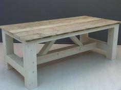 Kloostertafel steigerhout oud en white-wash onderstel met schuine schoren (3420131859)