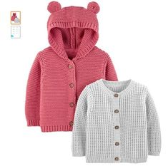 100% Cotton Imported Button closure Machine Wash Cardigan sweaters Button front design Animal ear details on hooded cardigan Trusted Carter's quality, every day low prices, and hassle-free packaging-exclusively for Amazon member Baby Boy Cardigan, Baby Girl Sweaters, Baby Pullover, Knitted Baby Clothes, Cute Baby Clothes, Babies Clothes, Winter Clothes, Strick Cardigan, Cardigan Sweaters