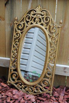 e162a67b707 1969 Gold Syroco Hollywood Regency Mirror