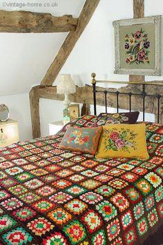 Rustic cottage bedroom, w/ handmade granny square crocheted afghan Home Bedroom, Bedroom Decor, Cottage Bedrooms, Home Interior, Interior Design, Rustic Cottage, Cottage Porch, Retro Home Decor, Bedroom Vintage