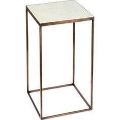 Table with marble top Metallbord med hvit marmorplate. H: 30 cm B: 55 cm D: 30 cm Marble Stones, Marble Top, Wood And Metal, Console Table, Interior Inspiration, Aspen, Furniture Design, Woodworking, Living Room