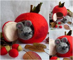christmas ornament and felted mouse