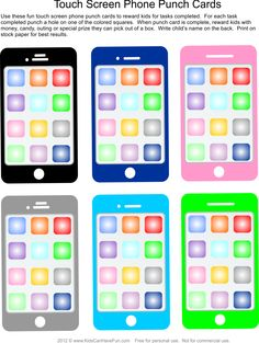 Motivational Touch Screen Phone Punch Cards for Kids to complete tasks